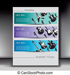 gitara, chorągiew, tła, trzy