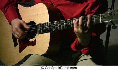 gitara, ciemny, gra