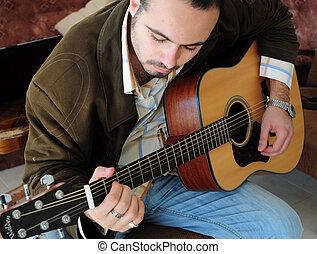 gitara, człowiek, interpretacja, młody