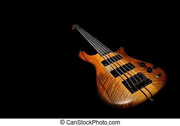 gitara, czarnoskóry, bas, tło