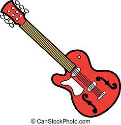 gitara, czerwony