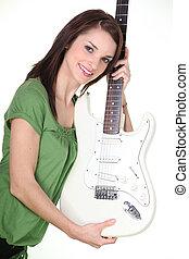 gitara, dziewczyna, ładny, dzierżawa