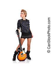 gitara, dziewczyna, dzierżawa