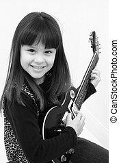 gitara, dziewczyna, elektryczny