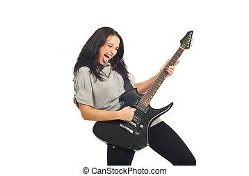 gitara, dziewczyna, gwiazda, skała