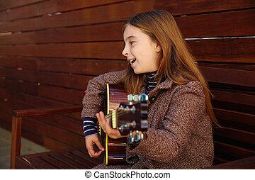 gitara, dziewczyna, interpretacja, blond, koźlę
