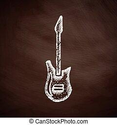 gitara, elektryczny, ikona