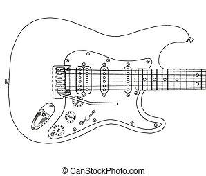 gitara, elektryczny, szkice