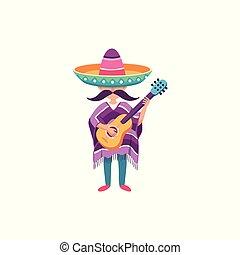 gitara, facet, mexcian