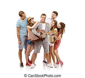 gitara, grupa, młodzież