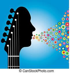 gitara, headstock, człowiek