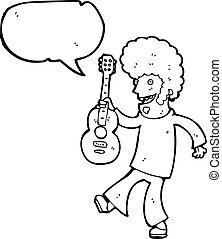 gitara, hipis, rysunek, człowiek