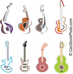gitara, ikona, wektor, -, logo