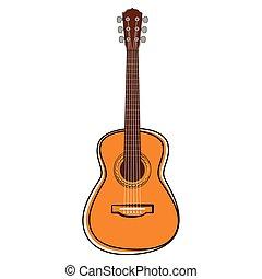 gitara, instrument, muzyczny, sketch., odizolowany