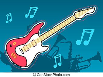 gitara, instrument, sylwetka, muzyka, muzyczny