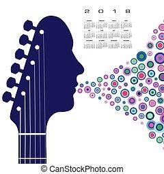 gitara, kalendarz, headstock, 2018, człowiek