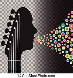 gitara, koła, headstock, człowiek