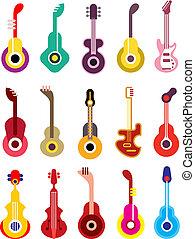 gitara, komplet, -, wektor, ikona