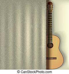 gitara, kurtyna, muzyka, tło