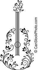 gitara, kwiatowy, szczegóły