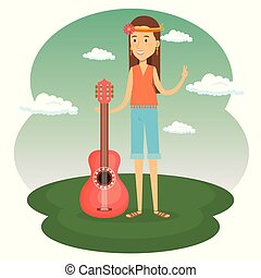 gitara, litera, kobieta, styl życia, hipis