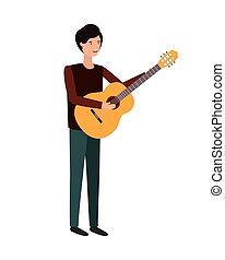 gitara, litera, młody mężczyzna