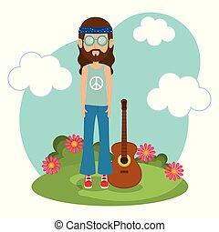 gitara, litera, styl życia, hipis, człowiek
