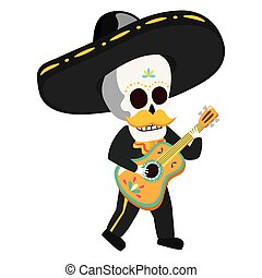gitara, meksykanin, mariachi, interpretacja, czaszka