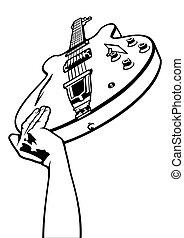 gitara, na górze, elektryczny