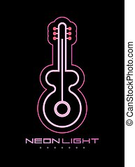 gitara, neon znaczą