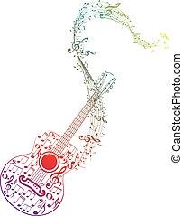 gitara, notatki, muzyka