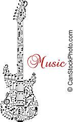 gitara, notatki, sylwetka, muzyczny