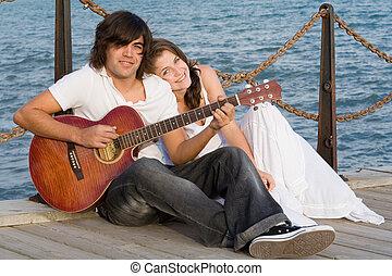gitara, para, szczęśliwy