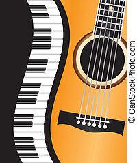 gitara, piano, falisty, brzeg, ilustracja