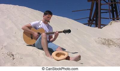 gitara, plaża, siada, gry, człowiek