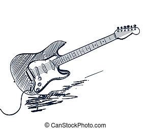 gitara, pociągnięty, biały, elektryczny, ręka