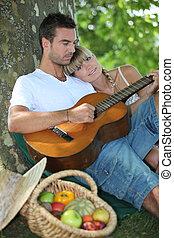 gitara, pole, para