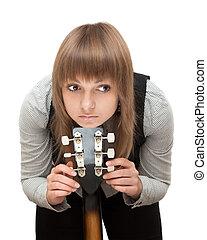 gitara, portret, dziewczyna, młody