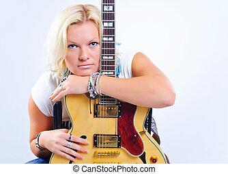 gitara, portret, dziewczyna
