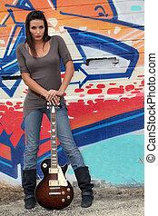 gitara, portret, kobieta
