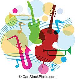 gitara, saksofon, muzyka, szablon, notatki