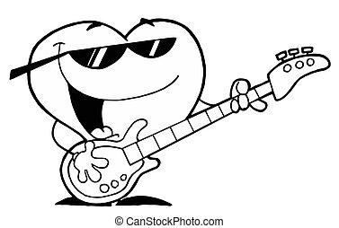 gitara, serce, interpretacja, śpiew