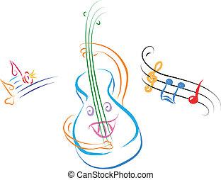 gitara, szczęśliwy, muzyka