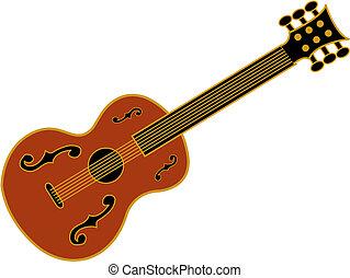 gitara, sztuka, zacisk