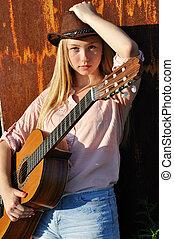 gitara, teenage dziewczyna, dzierżawa