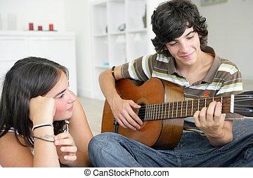 gitara, teenage para, młody