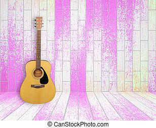 gitara, w, stary, pokój, tło