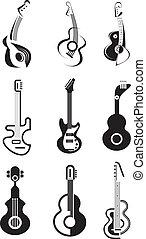 gitara, wektor, ikona