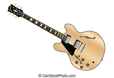 gitara, wręczony, lewa strona