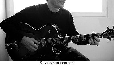 gitarowy gracz, jazz, grający instrument